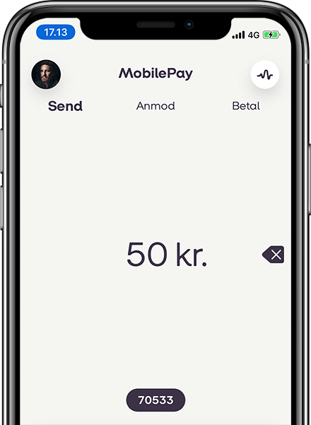 MobilePay app open on iphone, person making donation to Danish Startup Group